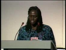 Professor Wangari Maathai speaking at Earth Summit in 1992.
