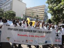 Campaigners marched through downtown Nairobi