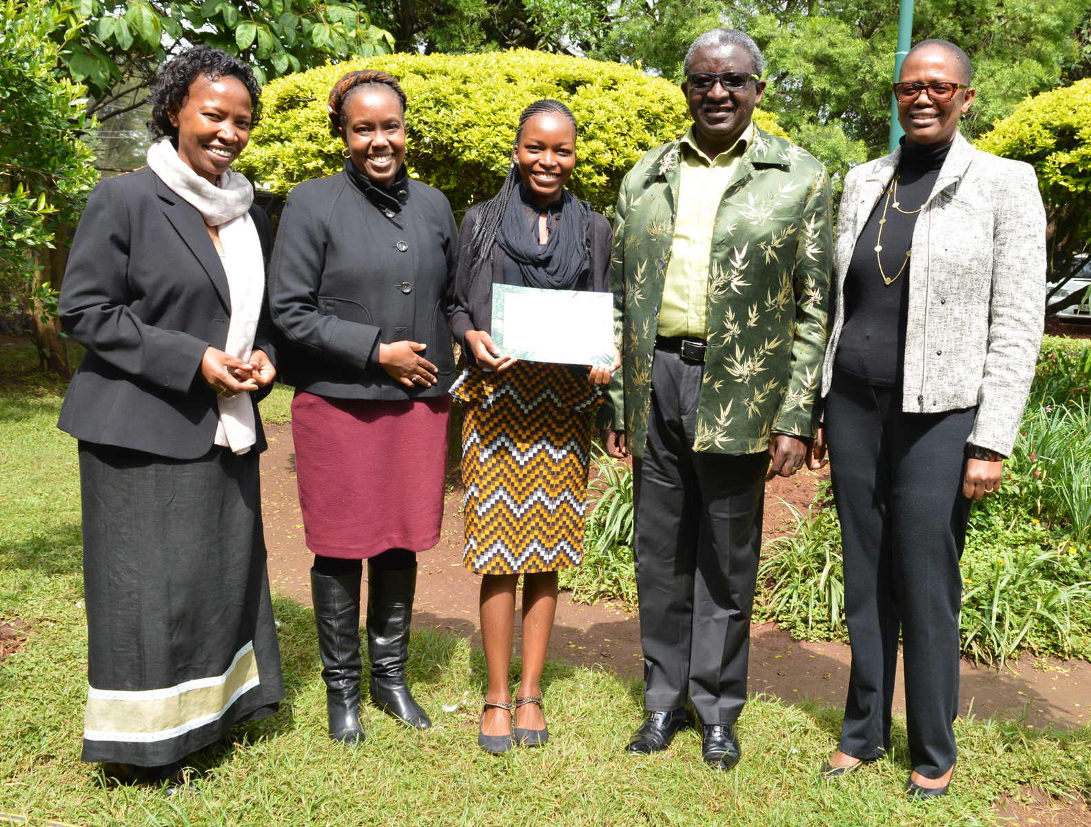 From left - Janet Mawiyoo CEO KCDF, Mwihaki Muraguri Senior Associate Director of Rockefeller Foundation Africa Regional Office,Claire Nasike Akello third recipient, Dr. Isaac Kalua Founder Green Africa Foundation and Wanjira Mathai Chair Green Belt Movement.