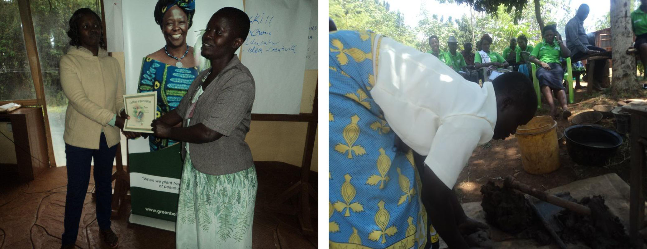 : Left, Rose receiving a certificate after the GBM CTOTs training, Right, Demonstrating to other CTOTs how to make clay claddings for an improved cook-stove in her village during an exchange Visit involving Kisumu and Siaya CTOTs