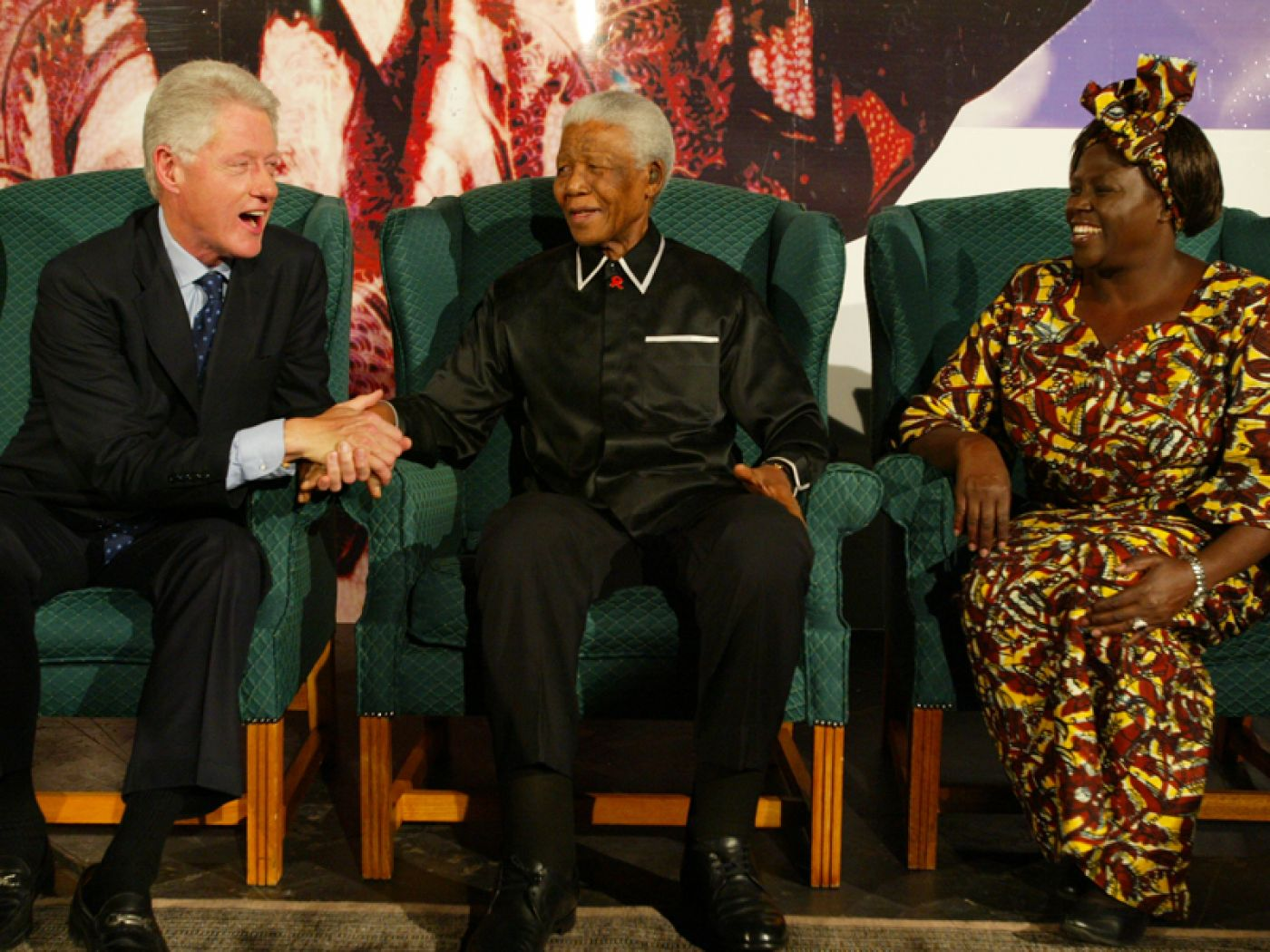 President Bill Clinton, Mr Nelson Mandela and Prof Wangari Maathai at the lecture
