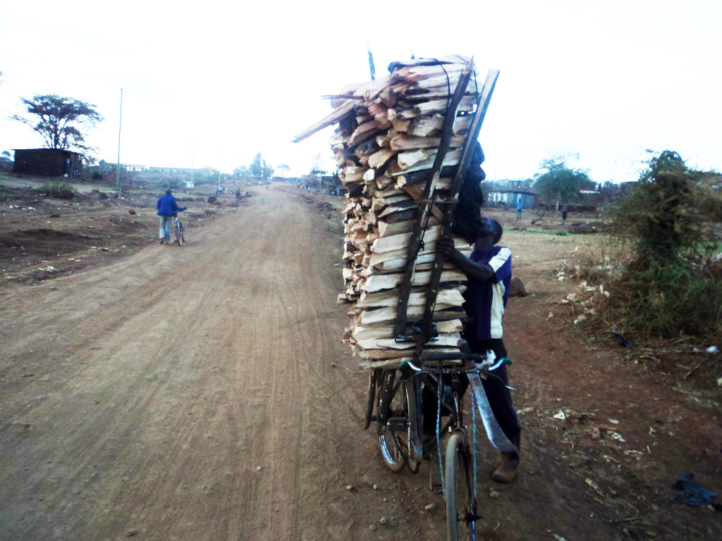 A man ferrying firewood for sale with his bicycle