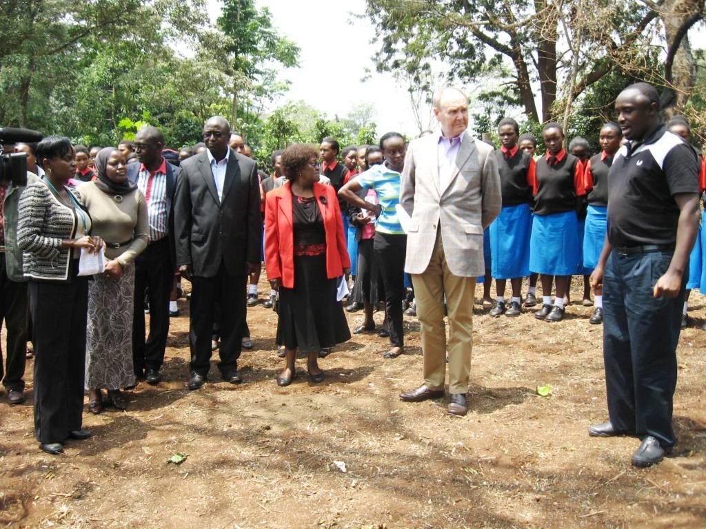 Senior Programme Officer, Charles Peter Mwangi explaining the process to be undertaken in assembling the tree nursery