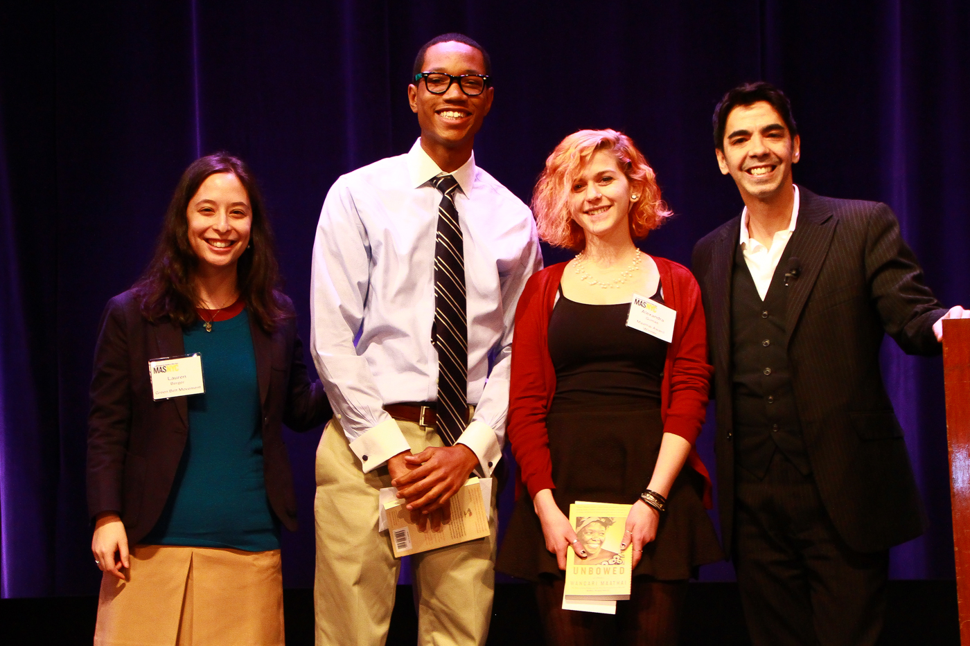 (L-R) Lauren Berger, Jaylen Gregory, Alexandra Gumas, and Eddie Torres. Photo credit: Syd London