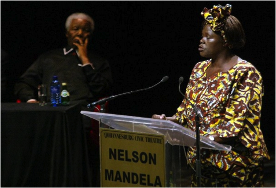 Professor Wangari Maathai with President Nelson Mandela in 2005 at the 3rd Nelson Mandela Annual Lecture, Johannesburg, South Africa