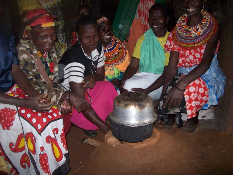 Energy Saving Devices: A Kuni Mbili Jiko cooking stove inside a Manyatta household as part of GBM's renewable clean energy solutions project in Samburu West Constituency.