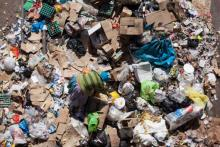 A pile of garbage lays uncollected in the heart of Nairobi CBD